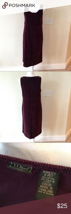 L L Bean Burgundy Corduroy Dress This sleeveless corduroy dress is perfect for the fall with its deep burgundy color! L.L. Bean Dresses