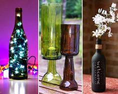 17 Uses for recycling glass bottles; i.e. wine bottle lamp, wind chimes, chalkboard vase