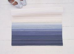White and blue cotton rug navy and white rag rug by leedas on Etsy