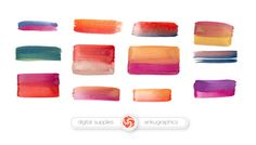 WATERCOLOR BRUSHES - double colored brush strokes, blob brush, watercolor splotch, blotch, watercolor clipart by ankugraphics on Etsy