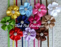Rose Pink Headband baby headband, flower headband, headband, shabby chic roses headband. $4.95, via Etsy.