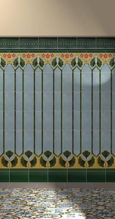 New art nouveau kitchen backsplash 21 ideas Azulejos Art Nouveau, Art Nouveau Tiles, Art Nouveau Design, Art Design, Raku Pottery, Interior Art Nouveau, Patterned Wall Tiles, Jugendstil Design, Vintage Tile