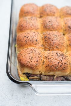 Small but mighty, these Italian Roast Beef Sliders involve simple ingredients, take just minutes to prepare and are packed with flavor! ~ https://www.fromvalerieskitchen.com