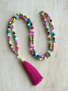 Colorful Beaded Tassel Necklace Multi Bead by VeraReeseDesigns