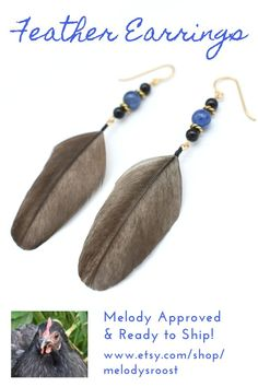 These charcoal grey feather earrings feature the stunning blue of natural kyanite, black onyx, and gold-plated findings.  Design for this pair of feather earrings approved by our flock matriarch, Melody, who molted these lovely feathers. #melodysroost #featherearrings #featherearring #kyanitejewelry #grayfeatherearrings #bluegemstone #dangleearrings #crueltyfree #crueltyfreejewelry #bohemianstyle #fashionearrings #bohostyle #uniqueearrings