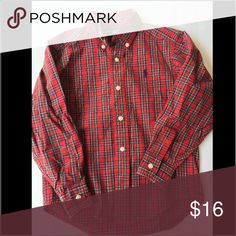 Polo Ralph Lauren Boys long sleeve plaid shirt Ralph Lauren Boys long sleeve plaid shirt.  In great condition.  Size 4.  Perfect colors to wear during the holidays. Ralph Lauren Shirts & Tops Button Down Shirts