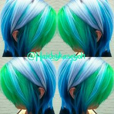 blue and lime green hair
