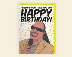 I Know I Won't See You But Happy Birthday Stevie Wonder | Etsy Happy Birthday Emoji, Happy Birthday Black, Stevie Wonder Birthday, Birthday Favors, Birthday Cards, World 7, Card Envelopes, See You, Anniversary Cards