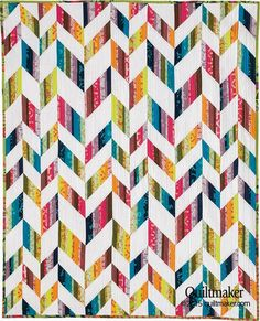 Haute Ziggity quilt by Sandra Clemons. Quiltmaker's March/April 2015 issue. Strip-pieced chevrons.
