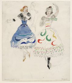 Marc Chagall. Society Girls, costume design for Aleko (Scene IV). (1942)