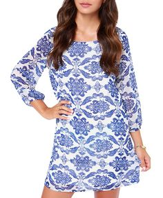 Pattern Print Long Sleeves Blue Dress