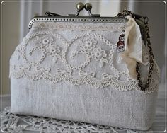 Vintage wedding purse with lace