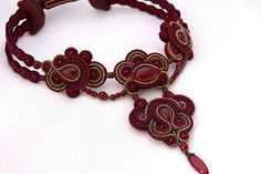 Soutache Necklace - Lady in (dark)Red | by BeadsRainbow