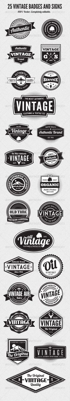 Camp T-shirt design inspiration 25 Premium Retro Style Vector Badges: