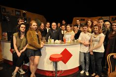 Alex Hammond with acting and performance students at Glasgow Clyde College.