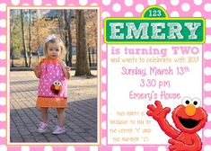 Elmo birthday party for a girl, Elmo birthday invitation, pink red orange party…