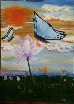 """Acrílico sobre tela 50x70 """"Borboletas azuis"""" da Série flor de lotus. R$300,00  By Claudia Morassutti"""