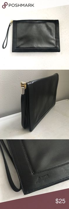 🆕 Listing!  Lou Taylor | Vintage Clutch Black vinyl envelope clutch.  Dark mustard fabric interior is clean and free from flaws, however missing the signature mirror. Lou Taylor Bags Clutches & Wristlets
