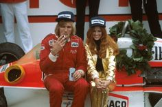James Hunt back in the day where F1 drivers were still living like rock stars. Drinking and smoking was not an issue.