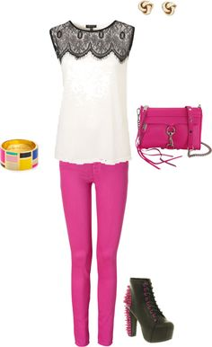 """""""Magenta jeans outfit#28"""" by watergirl874 ❤ liked on Polyvore"""