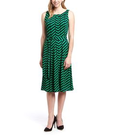 Look at this Green & Navy Blue Chevron Fit & Flare Dress on #zulily today!