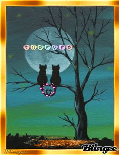 Cat Lovers Silhouette - Print Silhouetted Cats Sitting on Tree Under Full Moon (. Cat Lovers Silhouette – Print Silhouetted Cats Sitting on Tree Under Full Moon (Can Be Personalized) – – Art And Illustration, Cat Drawing, Drawing For Kids, Cat Sitting, Tapestry Wall Hanging, Wall Hangings, Full Moon, Cat Art, Painting Inspiration