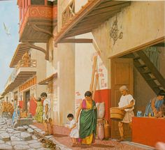 Reconstruction of a street in Pompeii with a shop to the right