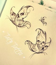 Skull butterflies, sketch for tattoo made by Taty Tattoo Farfalle di teschi, schizzo per tatuaggio, bianconero black and white black work Kunst Tattoos, Skull Tattoos, Rose Tattoos, Flower Tattoos, Black Tattoos, Tattoo Drawings, Body Art Tattoos, Sleeve Tattoos, Art Drawings
