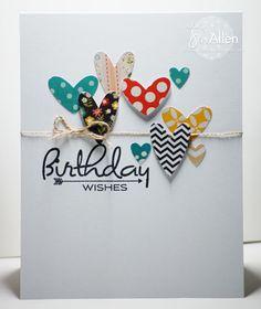Card with hearts. / Tarjeta scrapbooking con corazones de feliz cumpleaños. DIY. Handmade. Crafts. Cardmaking.