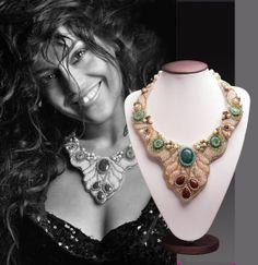 Queen of Sheba Necklace Swarovski Crystals Pearl by DASHARTSTUDIO, $379.00