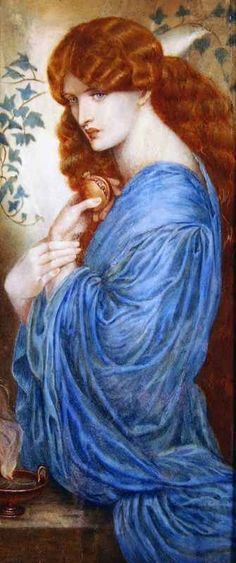 Proserphine by Rossetti. Pre-Raphaelite Art. If there is such a thing as heaven, this shade of blue must be there!!