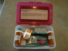 Birthday kits.  I LOVE this idea!  Personal Progress kit on 12th birthday, Dance kit on 14th, and Dating kit on 16th.