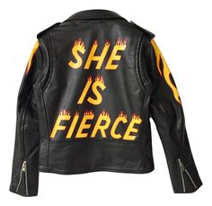 Hand painted 100% leather Brando style biker jacket. Painted sleeve detail. Silver hardware. Black lining.
