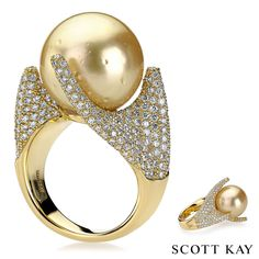 Ladies 18K gold couture ring with a 16MM Golden South Sea Pearl and 2.76 ctw of diamonds #ScottKay