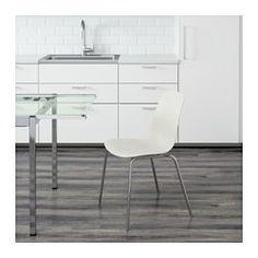 IKEA - LEIFARNE, Stoel, Door de rustgevende vering in de schaalvormige zitting en de gevormde rugleuning kan je comfortabel zitten.De zichzelf verstellende kunststof doppen geven de stoel extra stabiliteit.Een speciale oppervlaktebehandeling van de zitting zorgt dat je niet gaat glijden.De stoelen zijn stapelbaar, zodat ze minder plaats innemen als ze niet worden gebruikt.