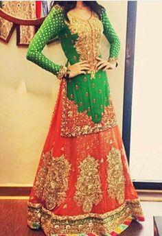 nice Green top, orange lehnga for Mehndi Event Pakistani Mehndi Dress, Pakistani Wedding Dresses, Pakistani Bridal, Pakistani Outfits, Indian Dresses, Indian Outfits, Bridal Dresses, Orange Lehnga, Pink Lehenga