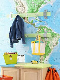 map as wallpaper Decoration Design, Deco Design, Globe Projects, Kids Bench, Playroom Bench, Map Wallpaper, Affordable Wall Art, Weekend Projects, Diy Wall Art