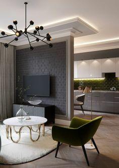 peinture gris perle pour une cuisine ouverte, avec un mur qui la sépare de la salle à manger, meubles métalliques gris, luminaire en métal noir, avec plusieurs rayons avec des petits projecteurs