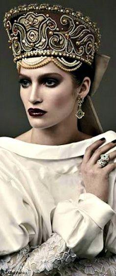 Russian kokoshnik headdress. Vogue fashion photograph.