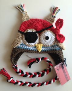 Crochet Pirate Owl Hat, Photography Prop, Halloween.. may have to make one for Sophia... lol no pattern...