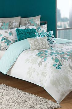 Blue and grey floral bed sheets set