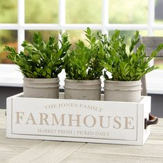 Add a decorative, farmhouse-inspired centerpiece to any table with the Family Farmhouse Personalized Wood Centerpiece Box. The whitewashed decorative box can be personalized with any 3 lines of text to suit your style and decor. Planter Box Centerpiece, Wood Centerpieces, Planter Boxes, Wood Box Decor, Wood Boxes, Farmhouse Style Table, Farmhouse Decor, Personalized Garden Stones, Personalised Wooden Box