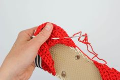"Learn how to make crochet espadrilles with flip flop soles in this free pattern and tutorial from Make and Do Crew! These crochet sandals feature Lion Brand Cotton in ""Red. Crochet Slipper Pattern, Crochet Slippers, Crochet Patterns, Crochet Sandals, Crochet Bikini, Crochet Flip Flops, Make And Do Crew, Shoe Pattern, How To Make Shoes"