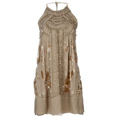 PHILOSOPHY DI ALBERTA FERRETTI Sequined silk dress ($695) ❤ liked on Polyvore featuring dresses, vestidos, gown, women, brown sequin dress, silk halter top, halter top, halter-neck dress and brown dress