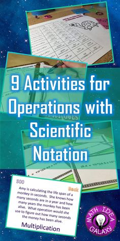 9 activity ideas for teaching and practicing operations with scientific notation. Math 8, Math Teacher, Math Classroom, Teaching Math, Future Classroom, Teaching Tips, Teacher Stuff, Math Resources, Math Activities