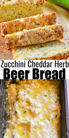 A favorite savory Zucchini Bread recipe is Zucchini Cheddar Cheese Herb Beer Bread. A favorite yeast free quick bread recipe great for a side dish from Serena Bakes Simply From Scratch. Quick Bread Recipes, Veggie Recipes, Cooking Recipes, Healthy Recipes, Dinner Recipes, Easy Bread, Banana Bread Recipes, Easy Cooking, Dessert Recipes