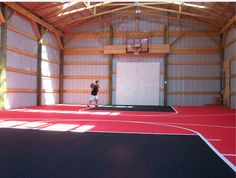Indoor home basketball court idea.  Keep it simple
