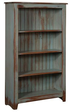 Amish Pine Wood Bookcase - 60 Primitive Pine Wood Collection This rustic, French-Country bookcase is constructed with screws instead of nails for a stronger, longer-lasting bookcase. Primitive Furniture, Country Furniture, Distressed Furniture, Country Decor, Rustic Decor, Painted Furniture, Primitive Decor, Primitive Country, Country Homes