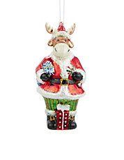 Moose Santa Ornament