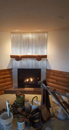 Corrugated Galvanized Steel Fireplace Surround Custom